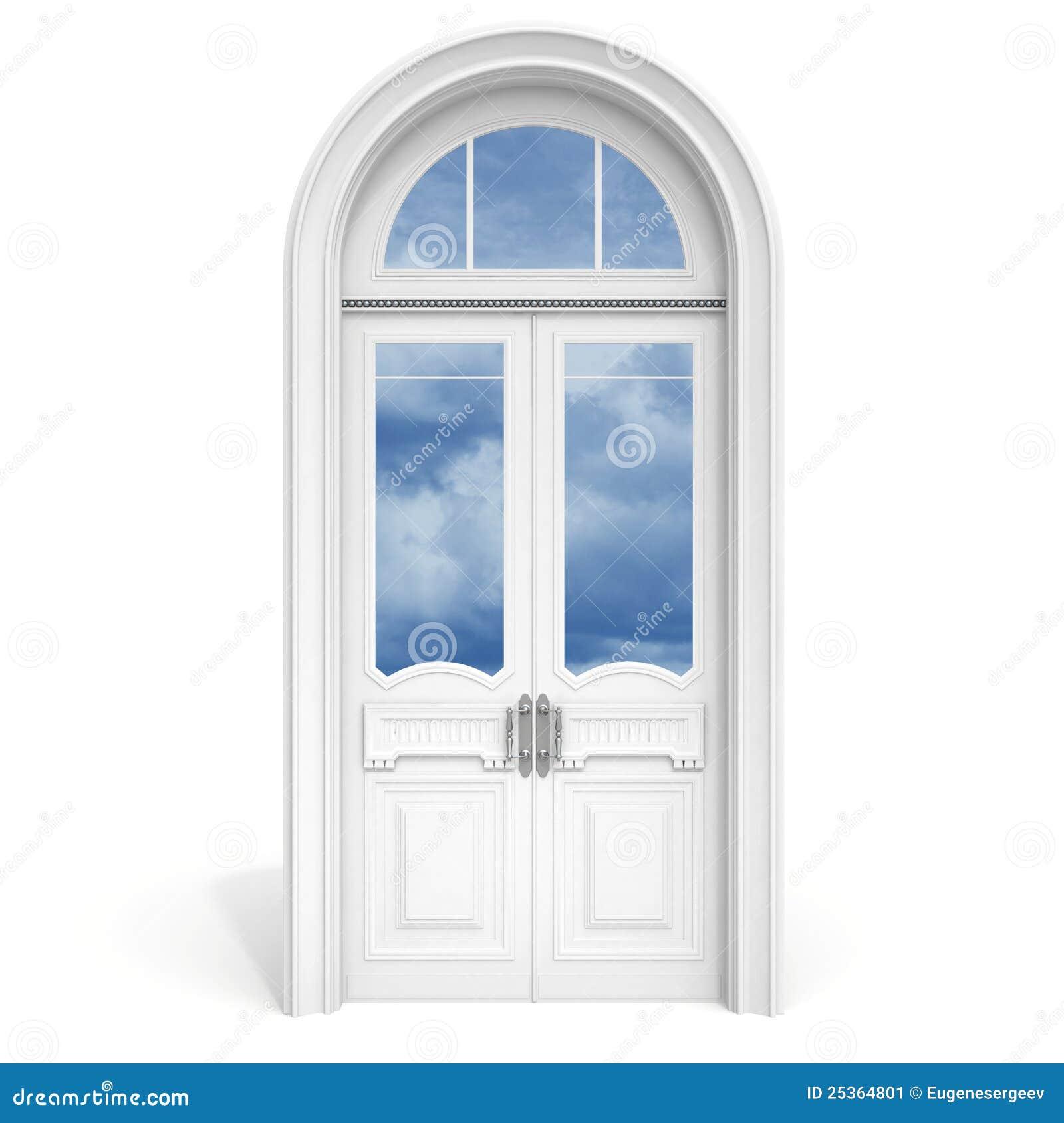 puerta de madera blanca con el vidrio reflejado stock de