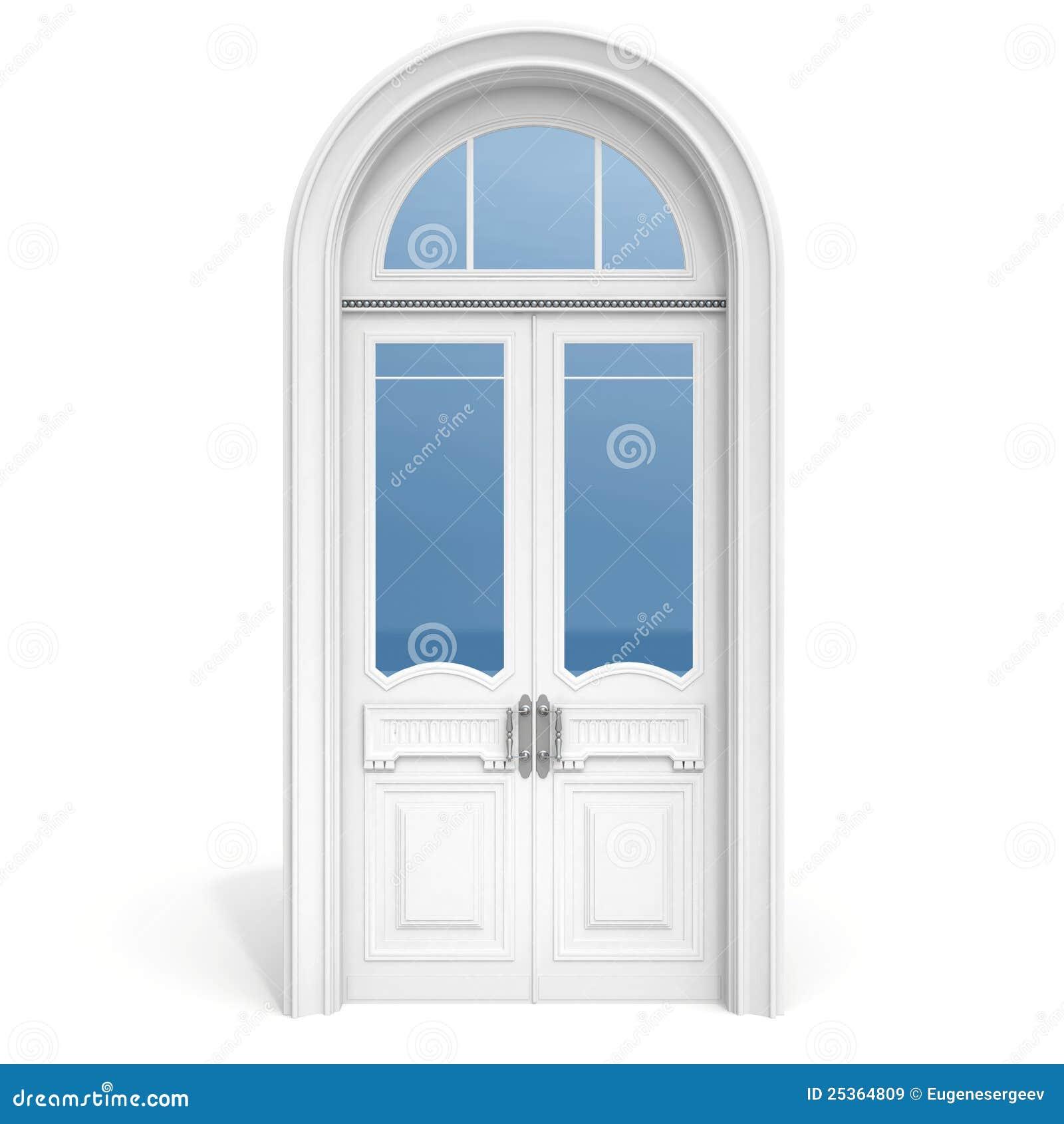 Puerta de madera blanca con las secciones de cristal for Puertas principales de cristal