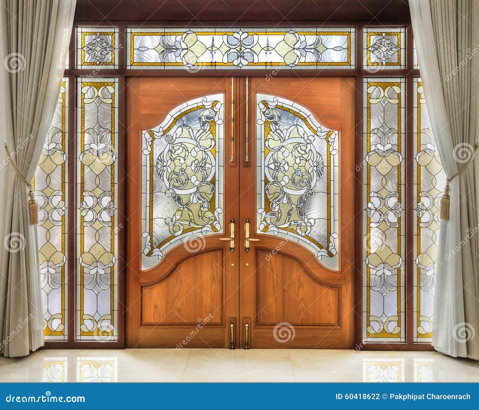 Puerta de madera de la teca con el interior del vidrio for Puertas interiores de madera con vidrio