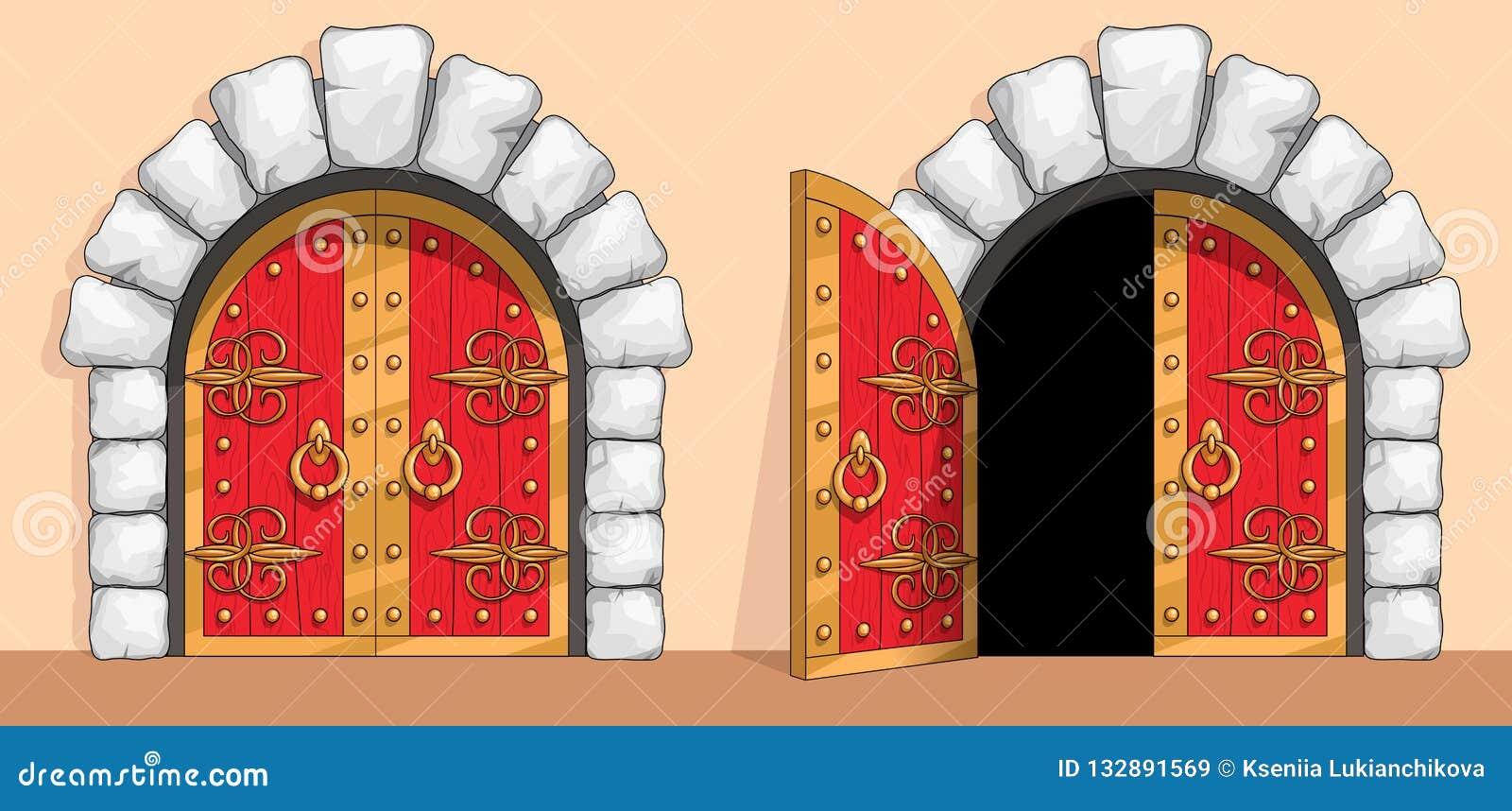 Puerta de madera roja medieval adornada con hierro labrado