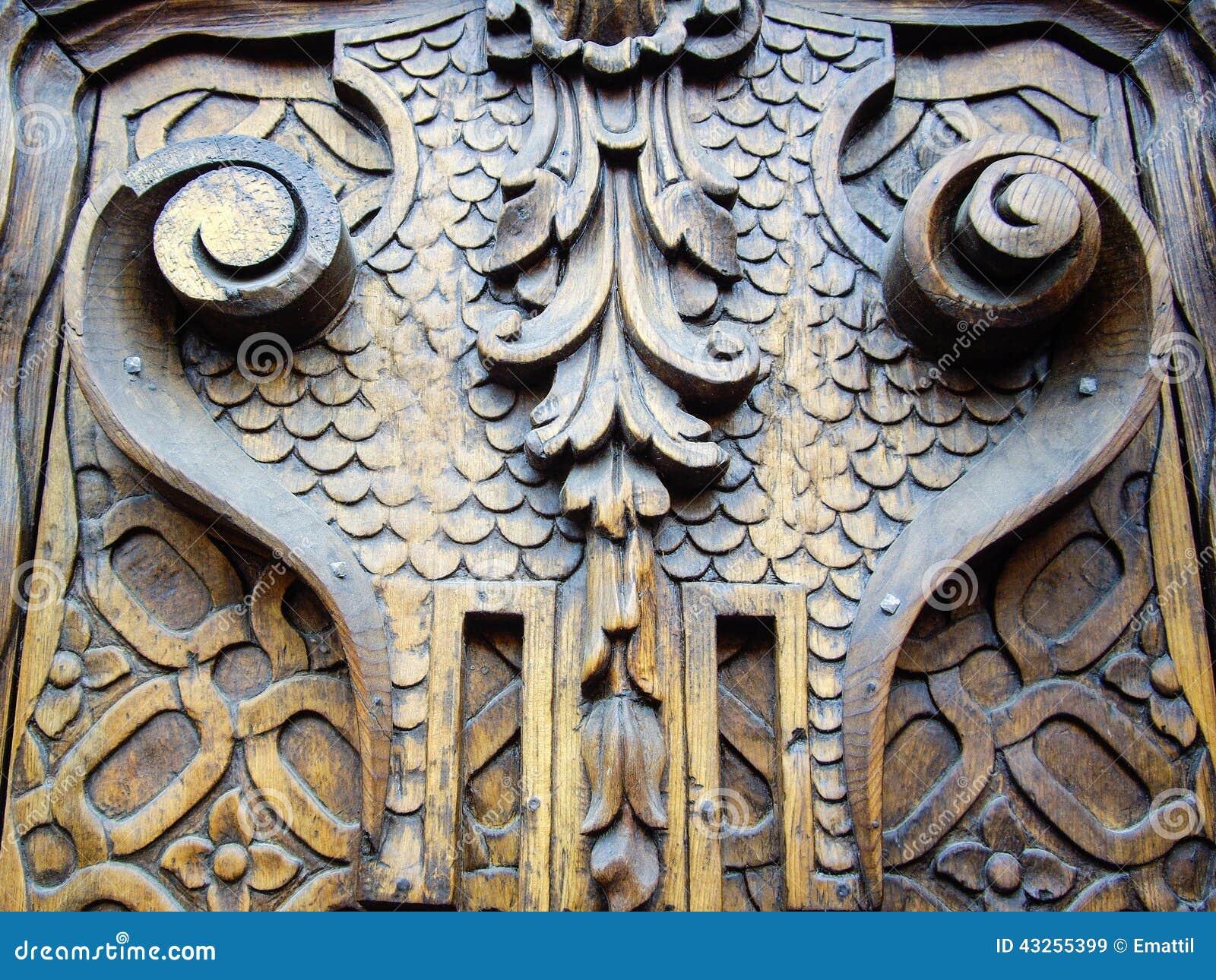 Puerta de madera tallada vieja imagen de archivo imagen for Puerta vieja madera