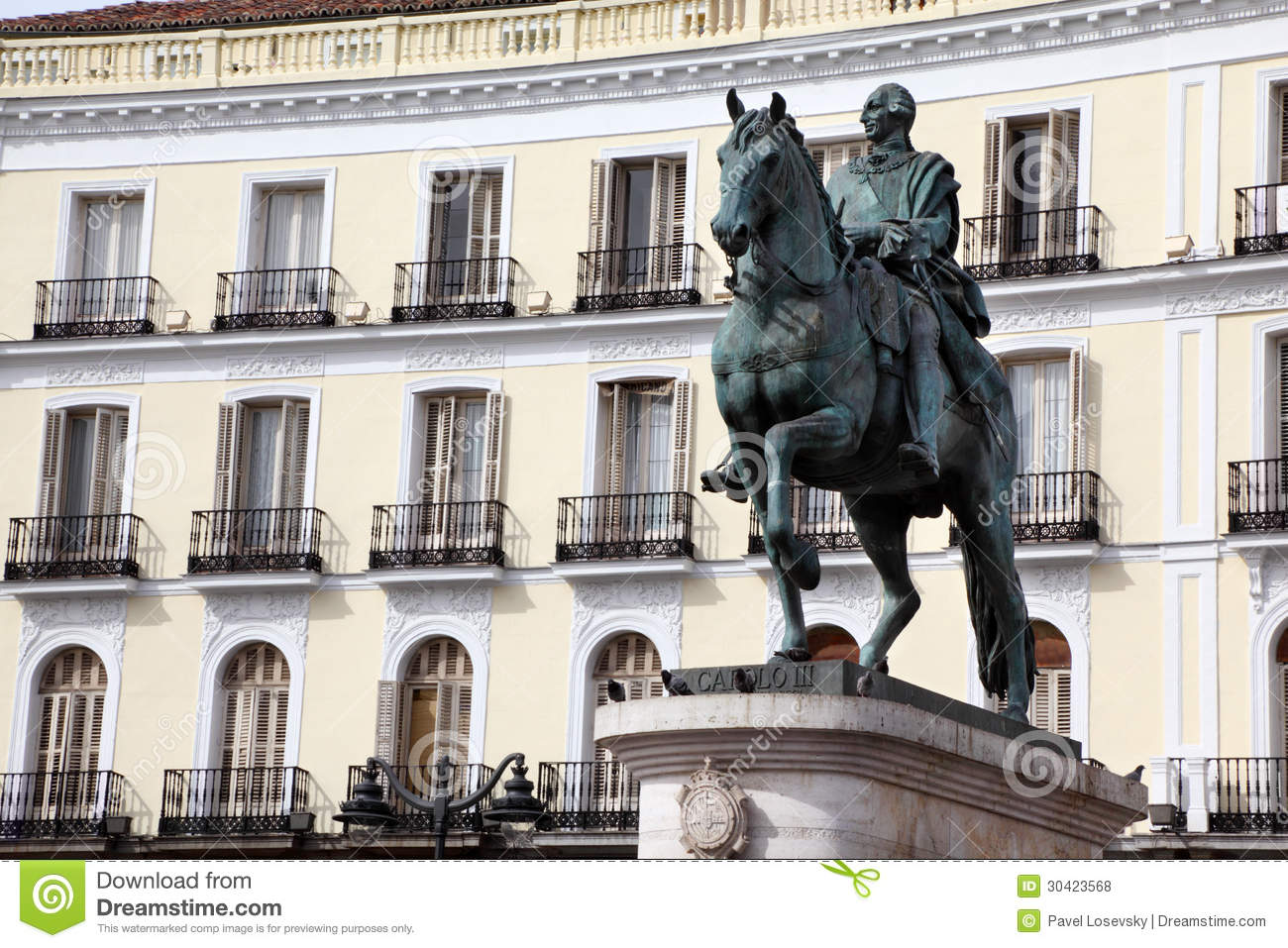 Puerta del sol carlos iii monument in madrid royalty free for Puerta del sol web