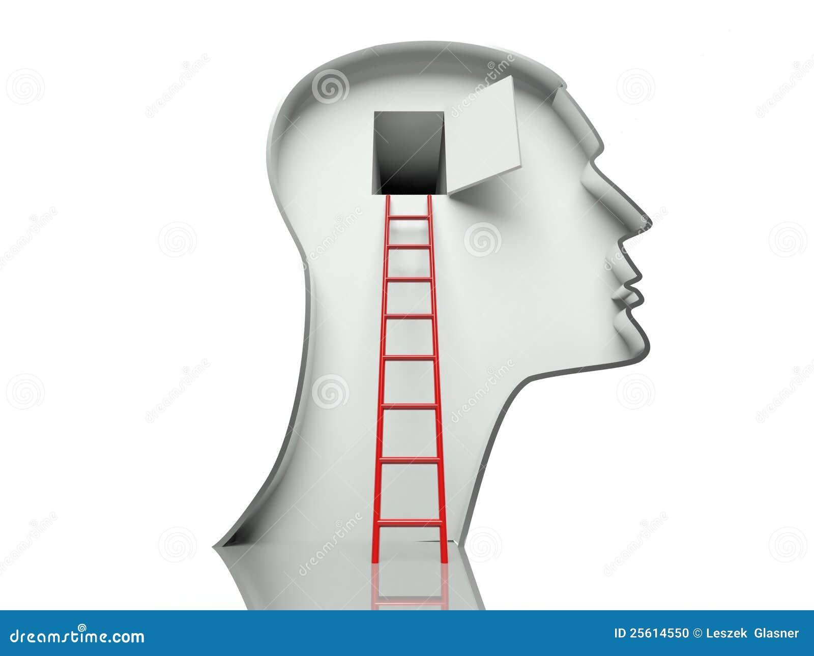 Puerta en pista y escala, concepto de mente abierta