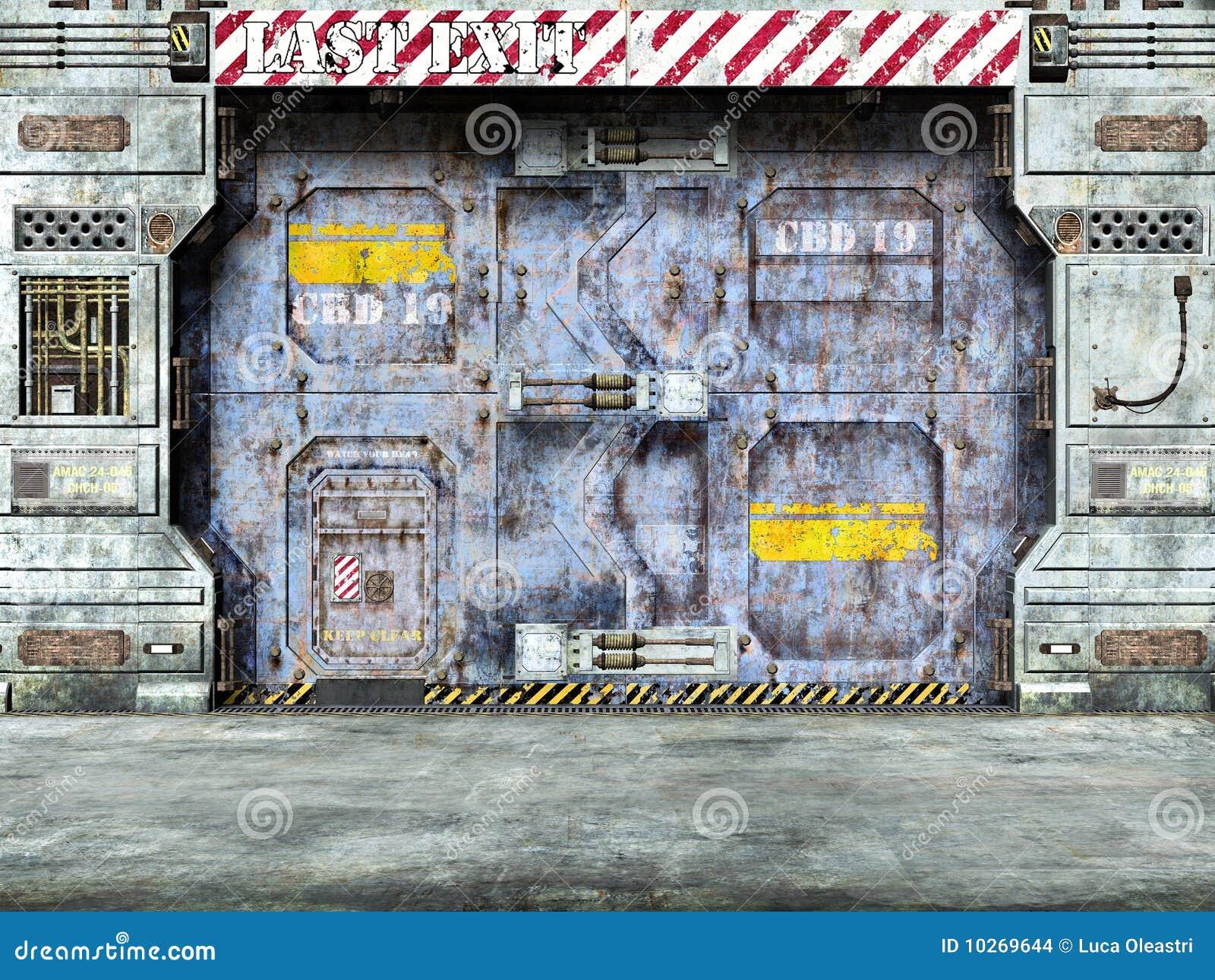 puerta futurista de la nave espacial imagenes de archivo