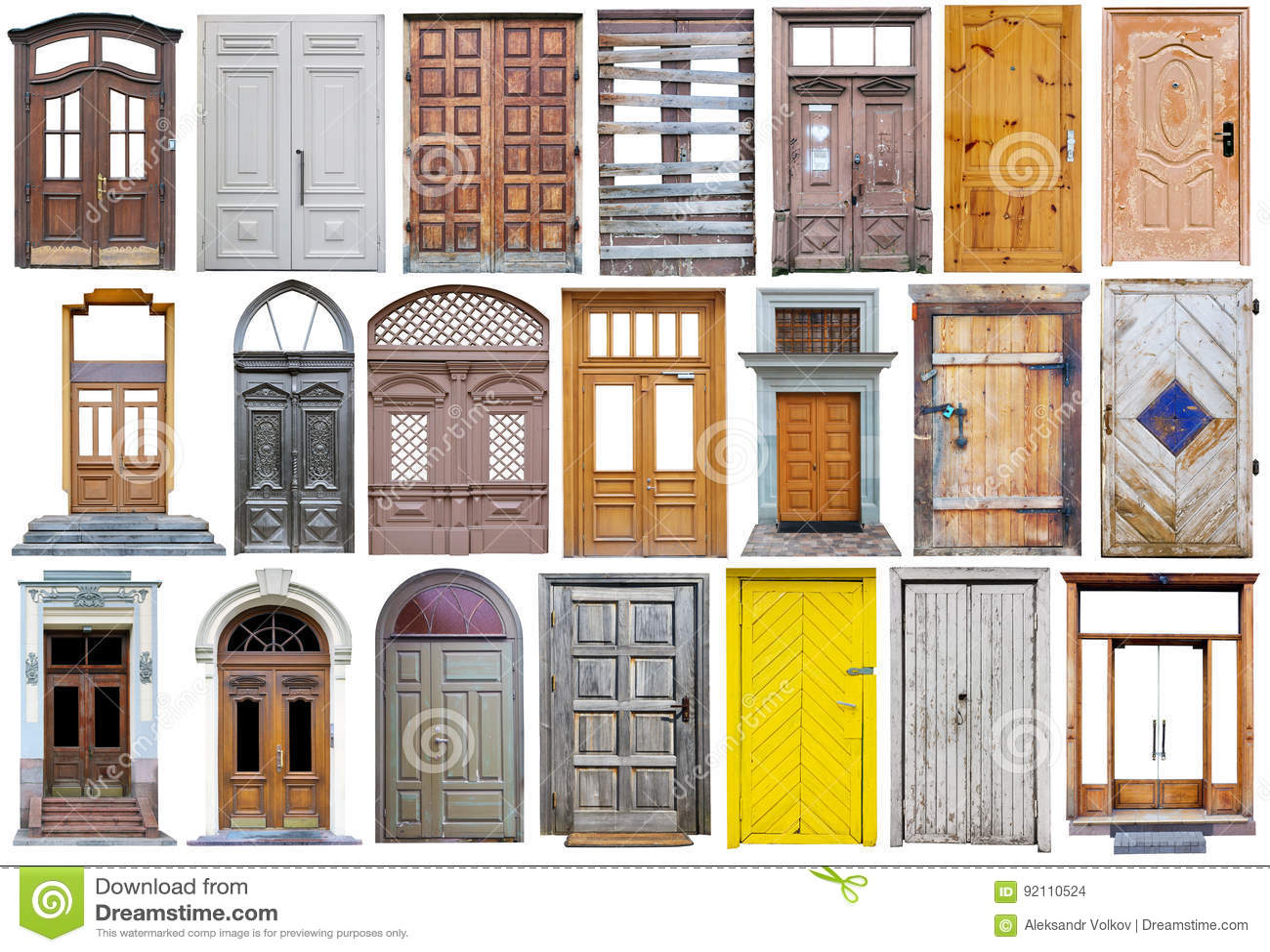Puertas De Calle De Madera Modernas En Estilo Retro Del Vintage Foto