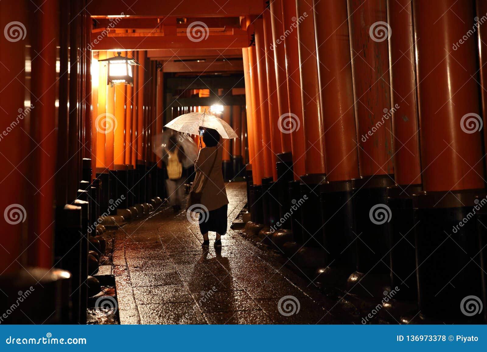 Puertas de los toros en la capilla de Fushimi Inari en la noche con el foco selectivo, Kyoto, Japón