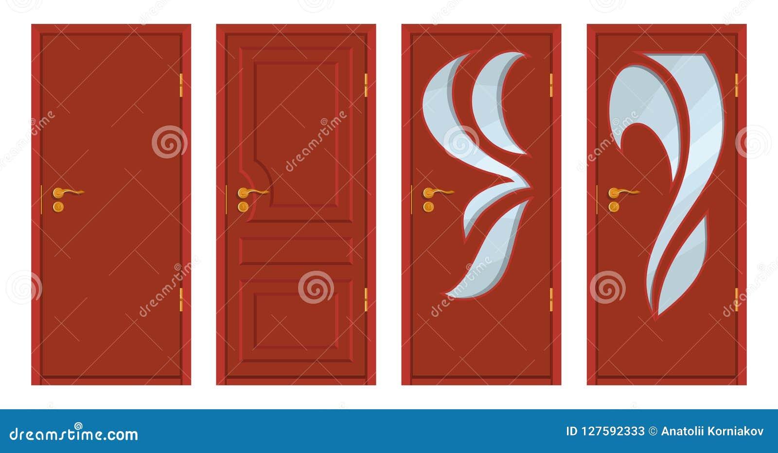 Puertas De Madera Coloreadas Aisladas En El Fondo Blanco Puerta De