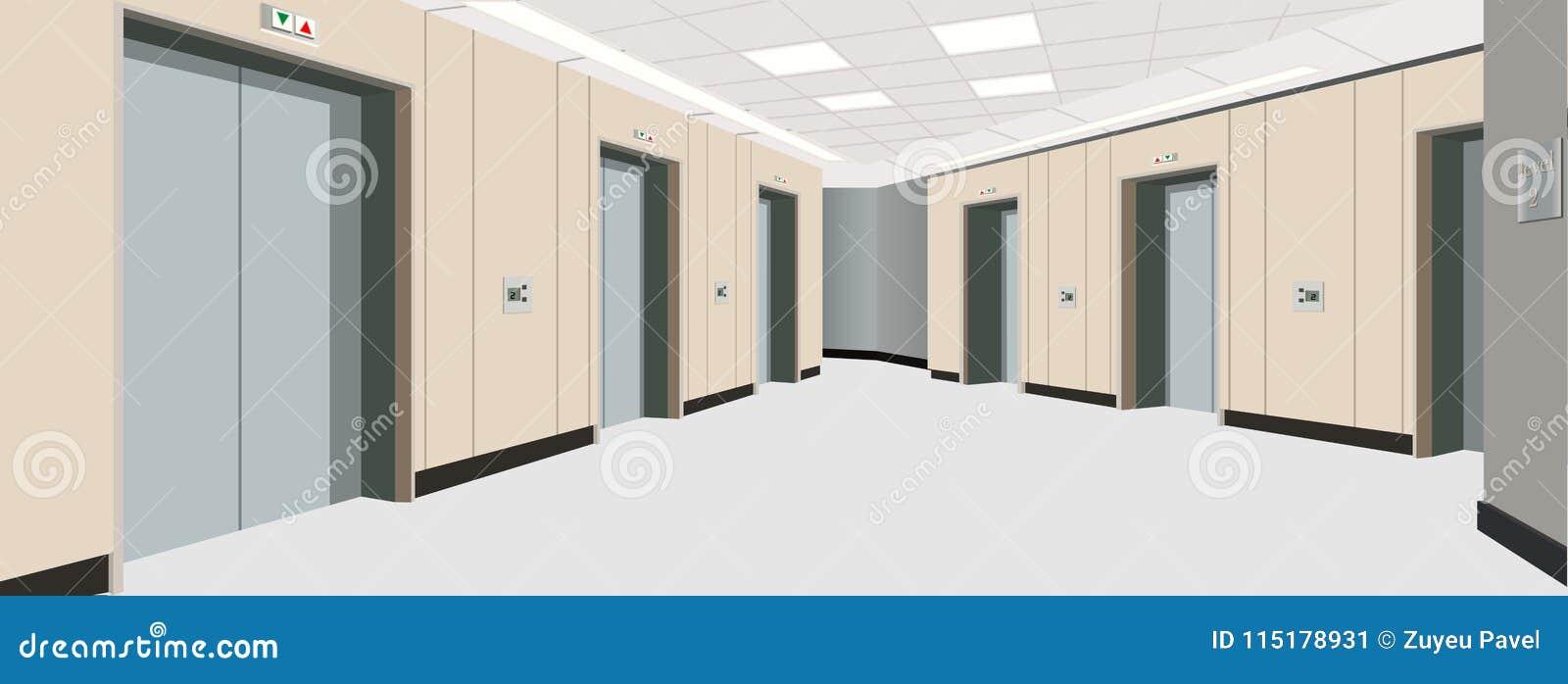 Puertas del elevador en el piso interior del pasillo largo - Puertas piso interior ...