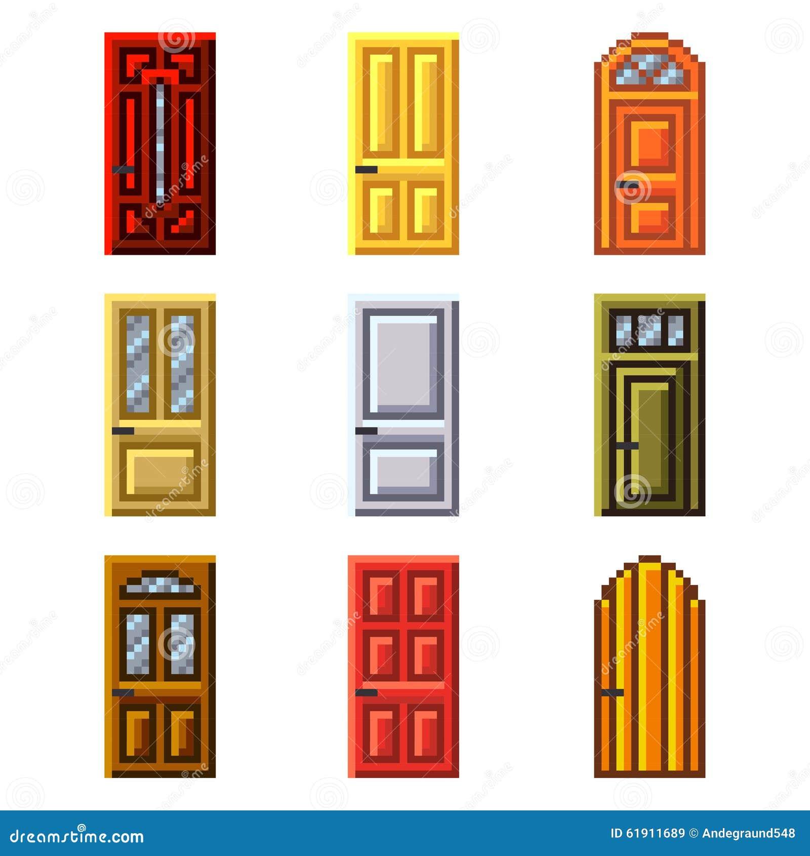 Puertas del pixel para el sistema del vector de los iconos de los juegos