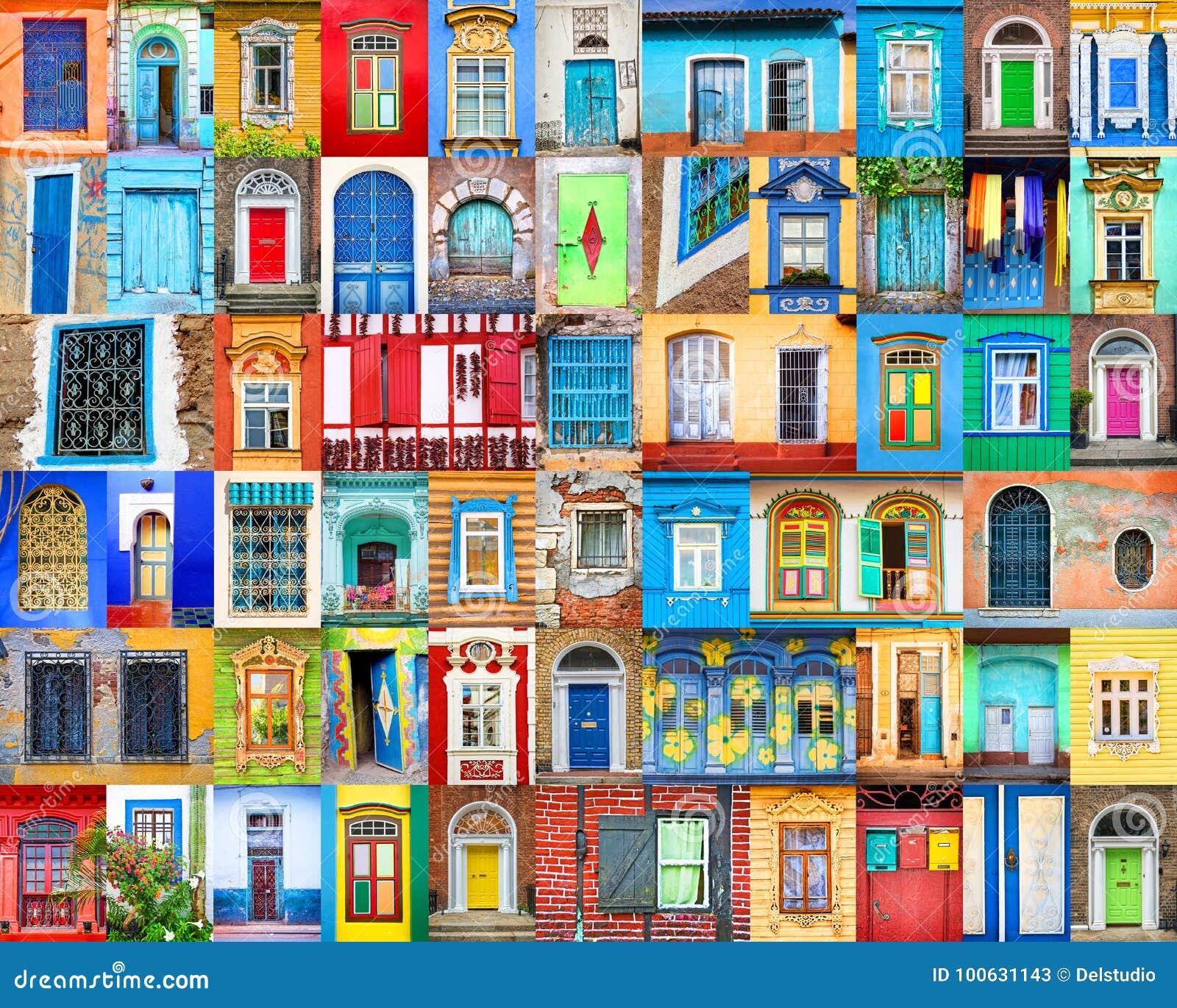 Puertas y ventanas del mundo Collage colorido, concepto del viaje