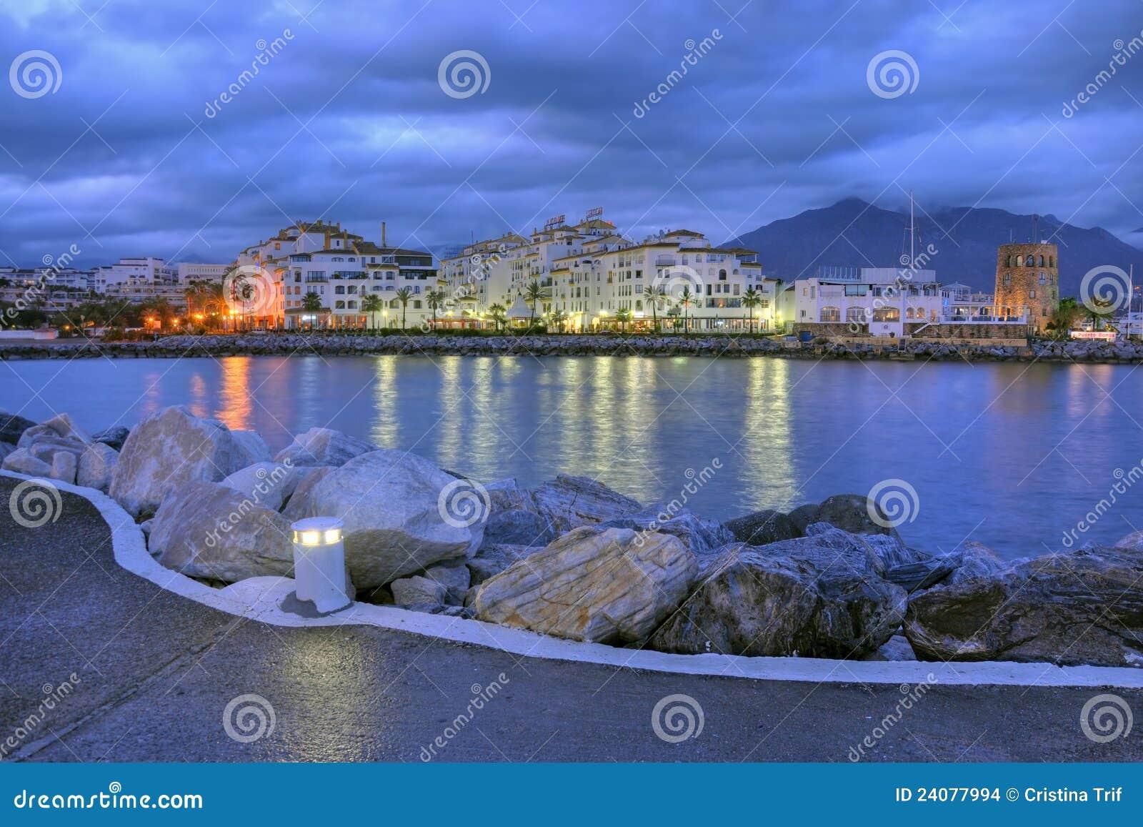 Puerto banus by night costa del sol spain stock photo for Puerto banus costa del sol