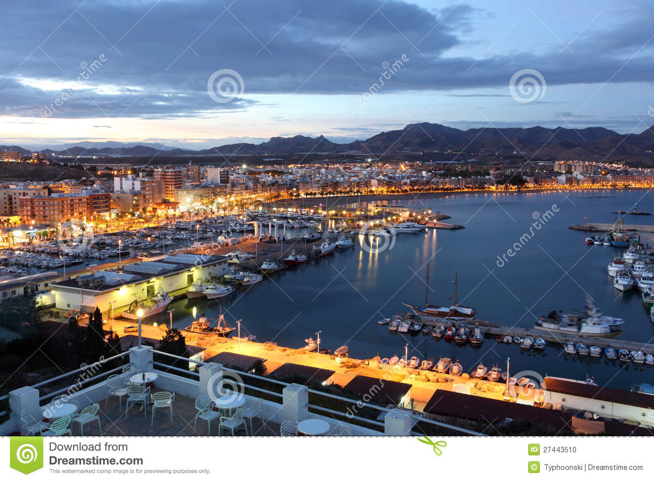 Mazarron Spain  City new picture : Puerto De Mazarron At Dusk, Spain Stock Photo Image: 27443510