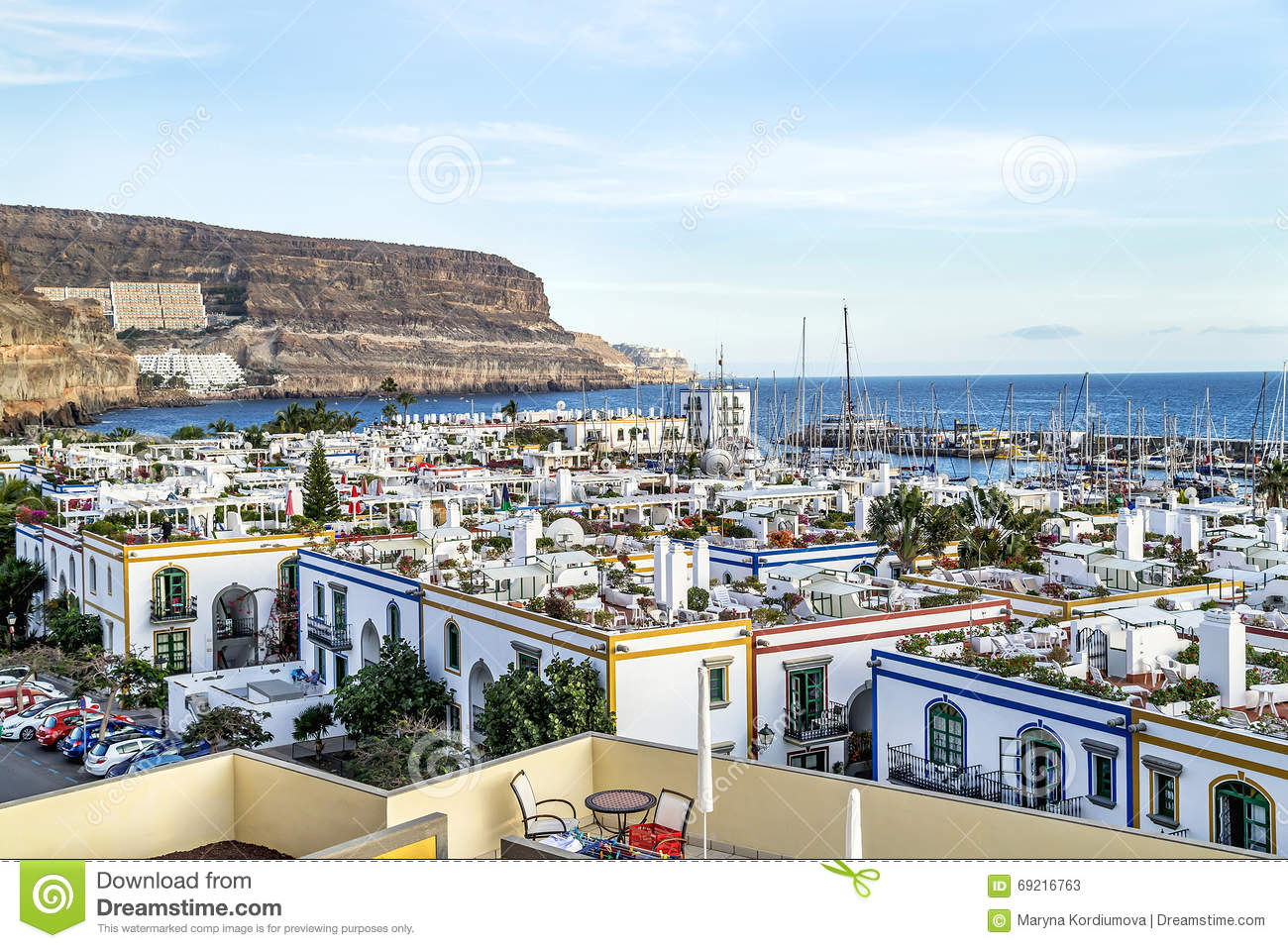 Puerto de mogan spain january 17 2016 aerial view of - Houses in gran canaria ...