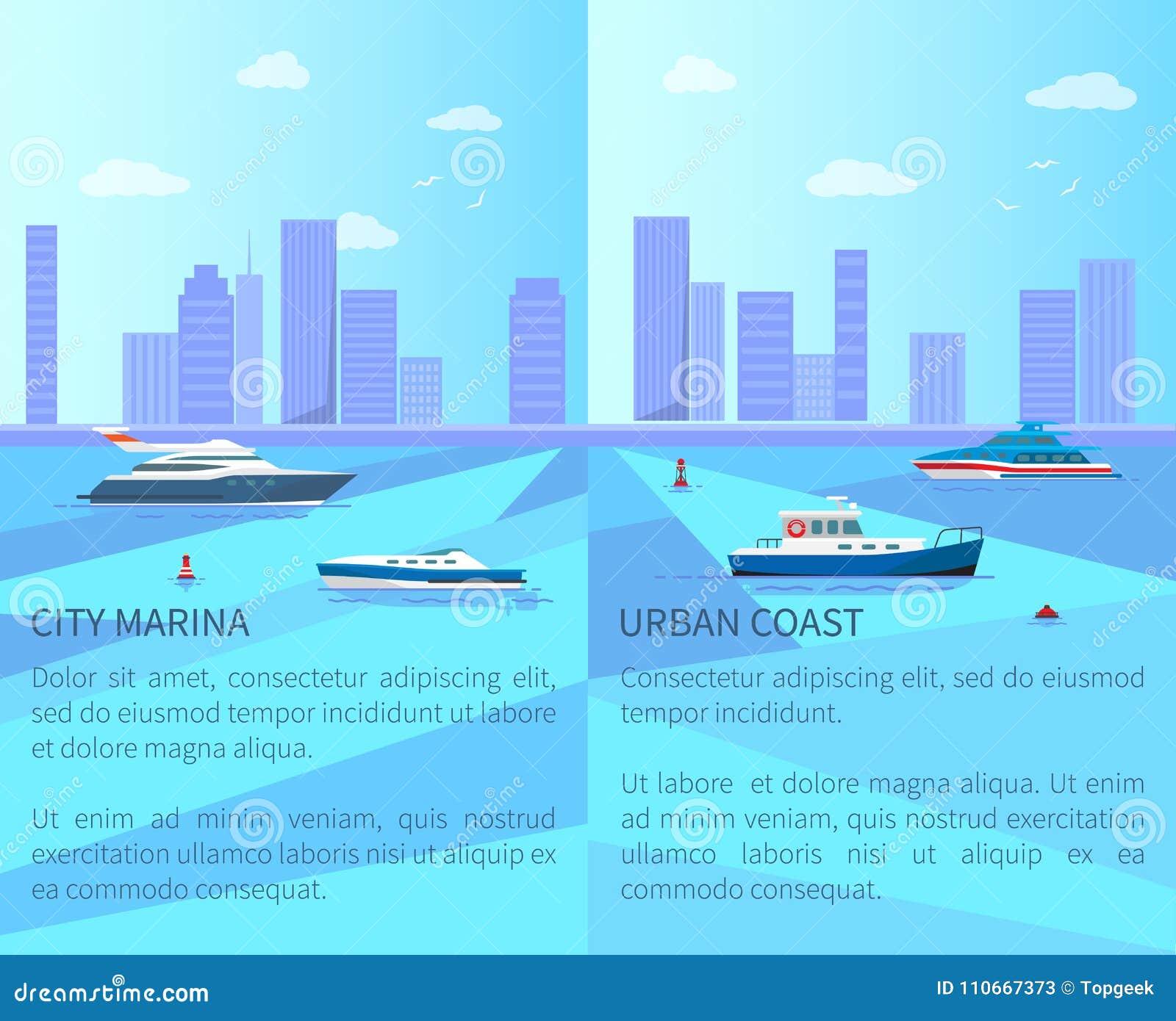 Puerto deportivo de la ciudad y ejemplo urbano del vector de la costa