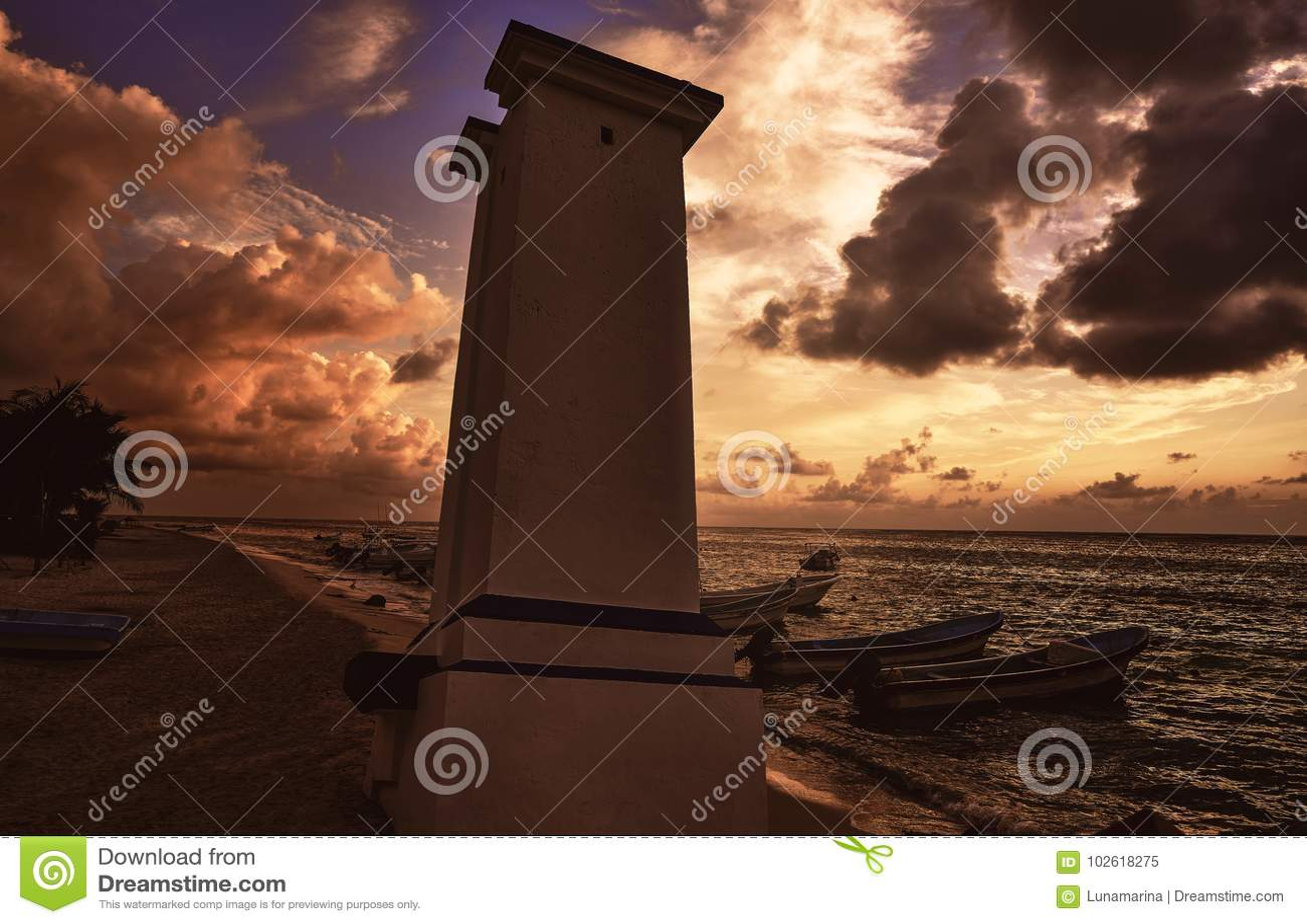 Puerto Morelos sunset lighthouse Riviera Maya