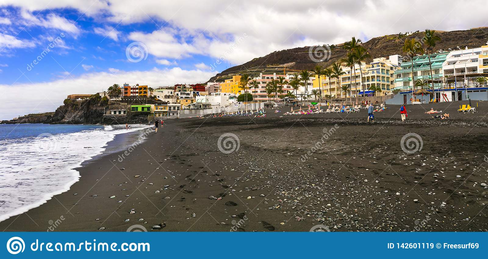 Puerto Naos - biggest and beautiful black sand beach in La Palma island. Canary islands