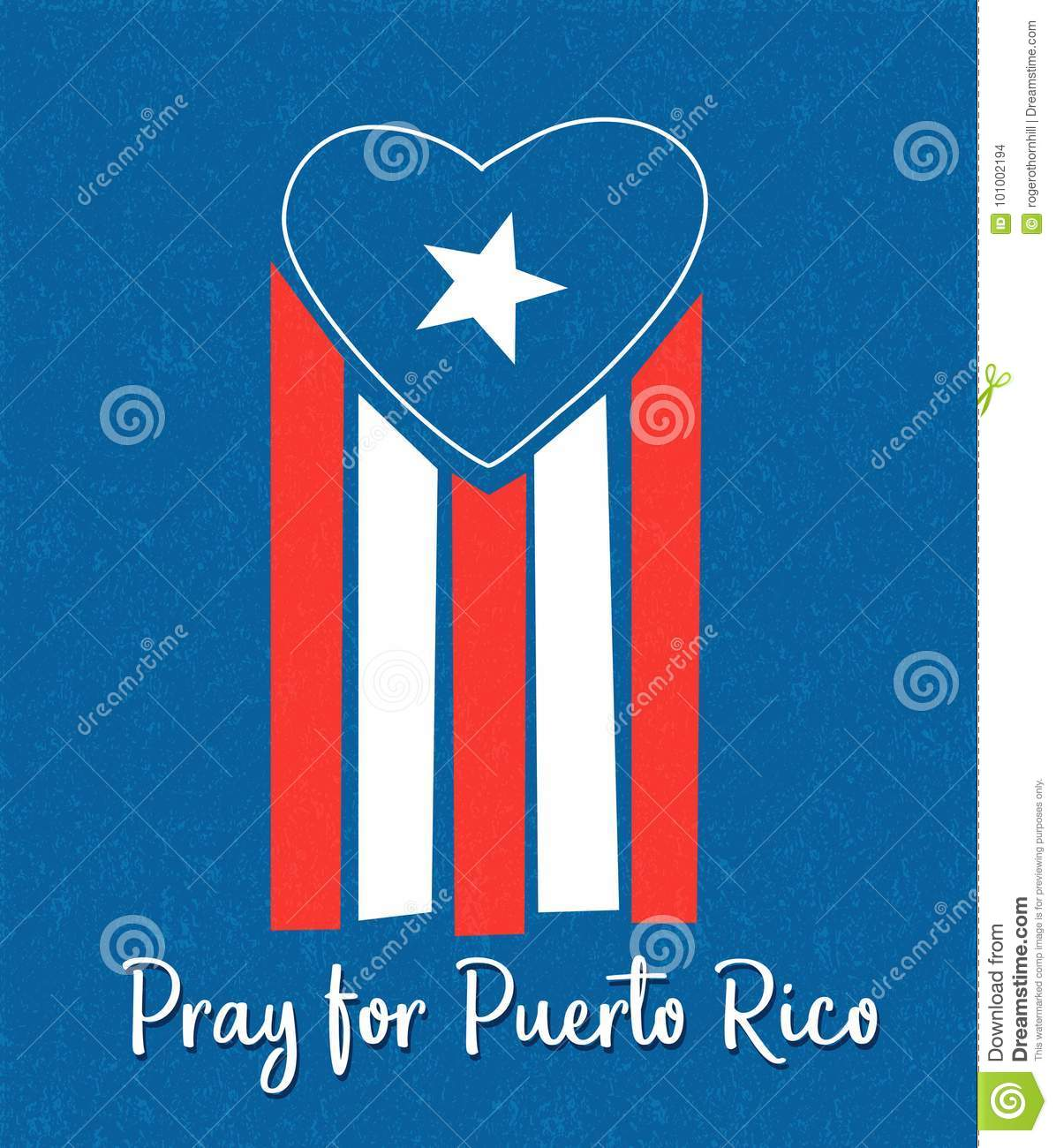 Puerto Rican Flag With Blue Area Forming A Heart Shape Stock Vector