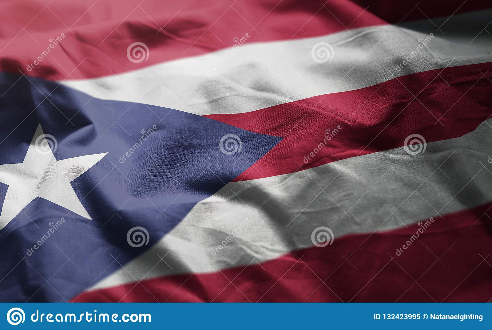 Puerto Rico Flag Rumpled Close Up