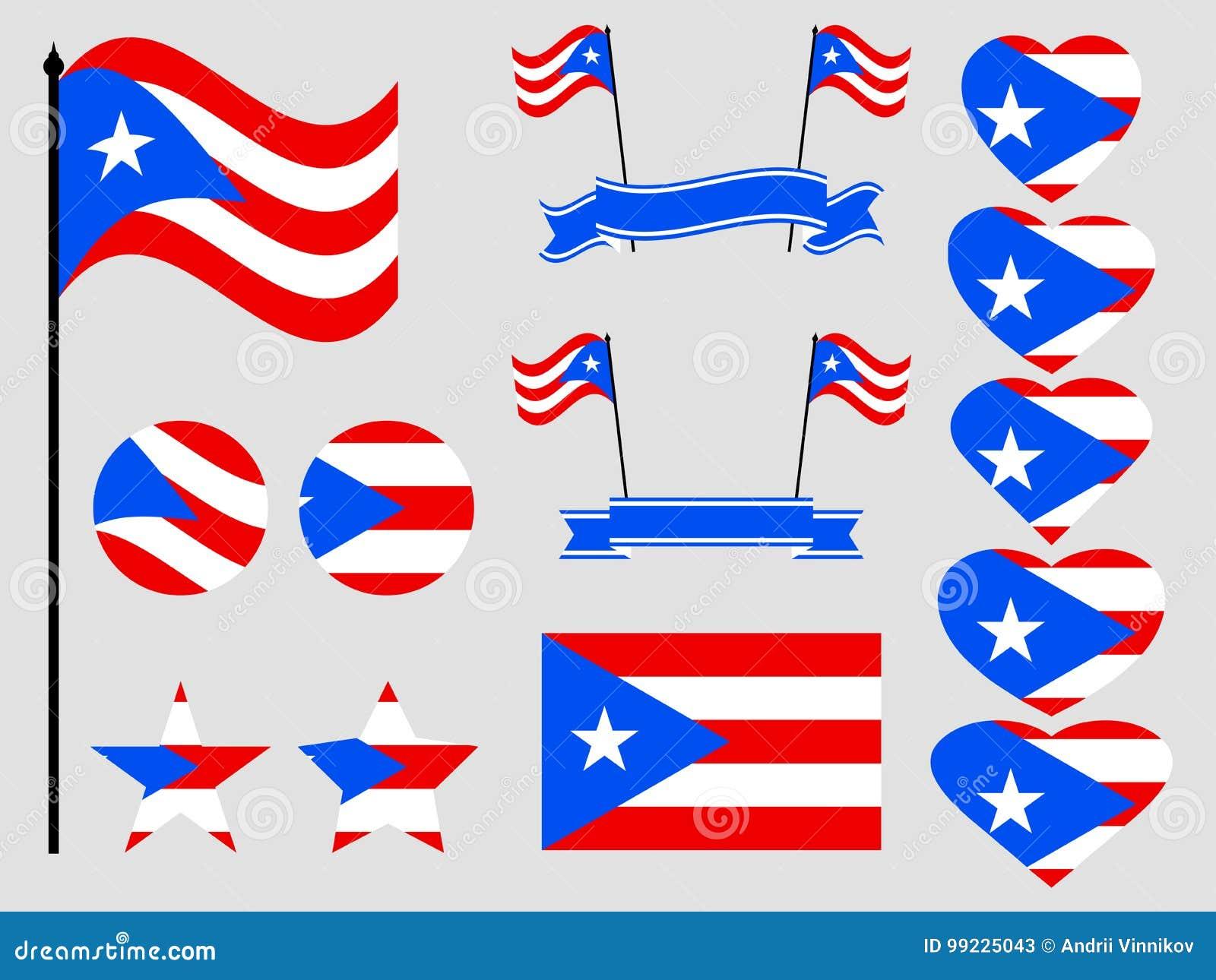 Puerto Rico Flag Set Symbols Flag In Heart Vector Stock Vector