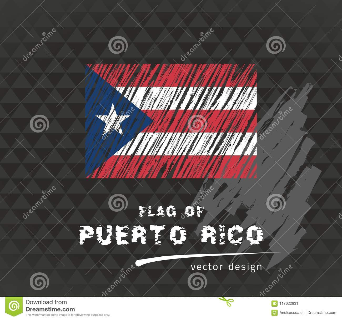 Puerto Rico Flag, Vector Sketch Hand Drawn Illustration On