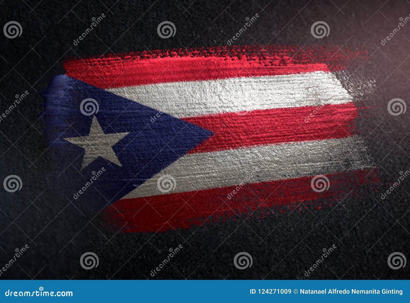 Puerto Rico flaga Robić Kruszcowa Szczotkarska farba na Grunge zmroku Wal