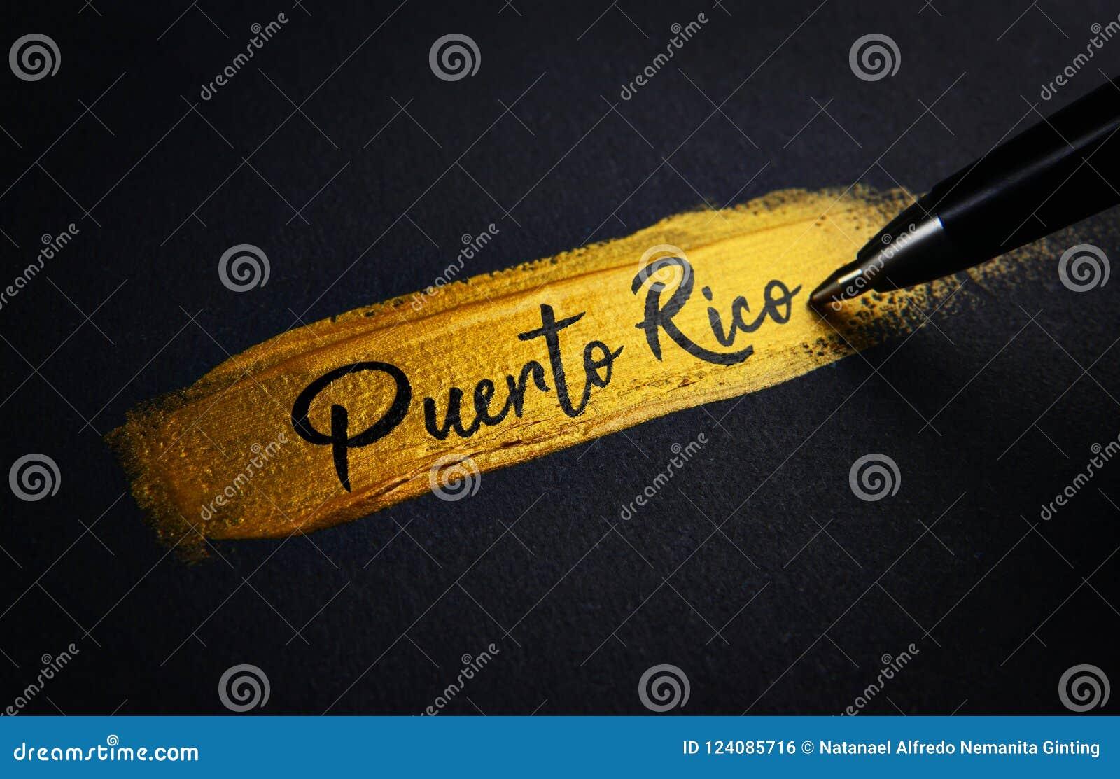 Puerto Rico Handwriting tekst na Złotym farby muśnięcia uderzeniu
