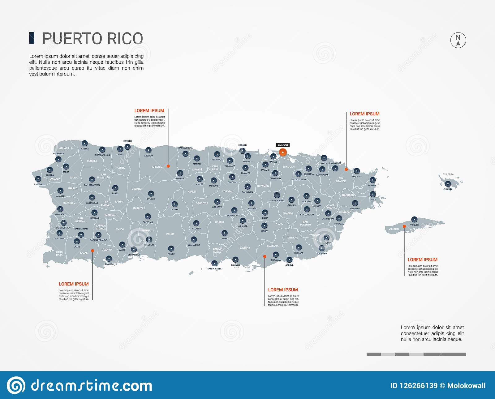 Puerto Rico Infographic Map Vector Illustration. Stock Vector ...