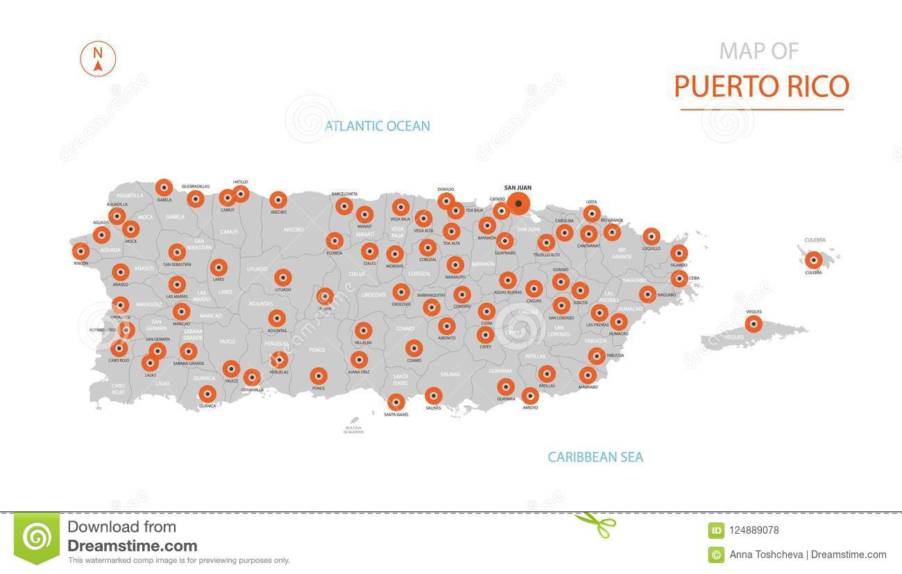 Puerto Rico Map With Administrative Divisions. Stock Vector ...