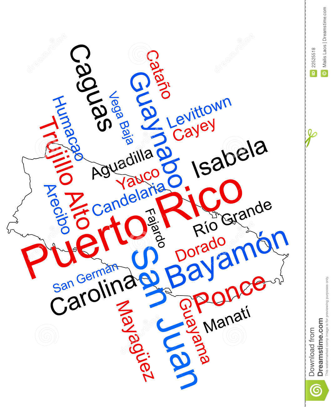 Puerto Rico map and cities stock vector. Illustration of cities ...
