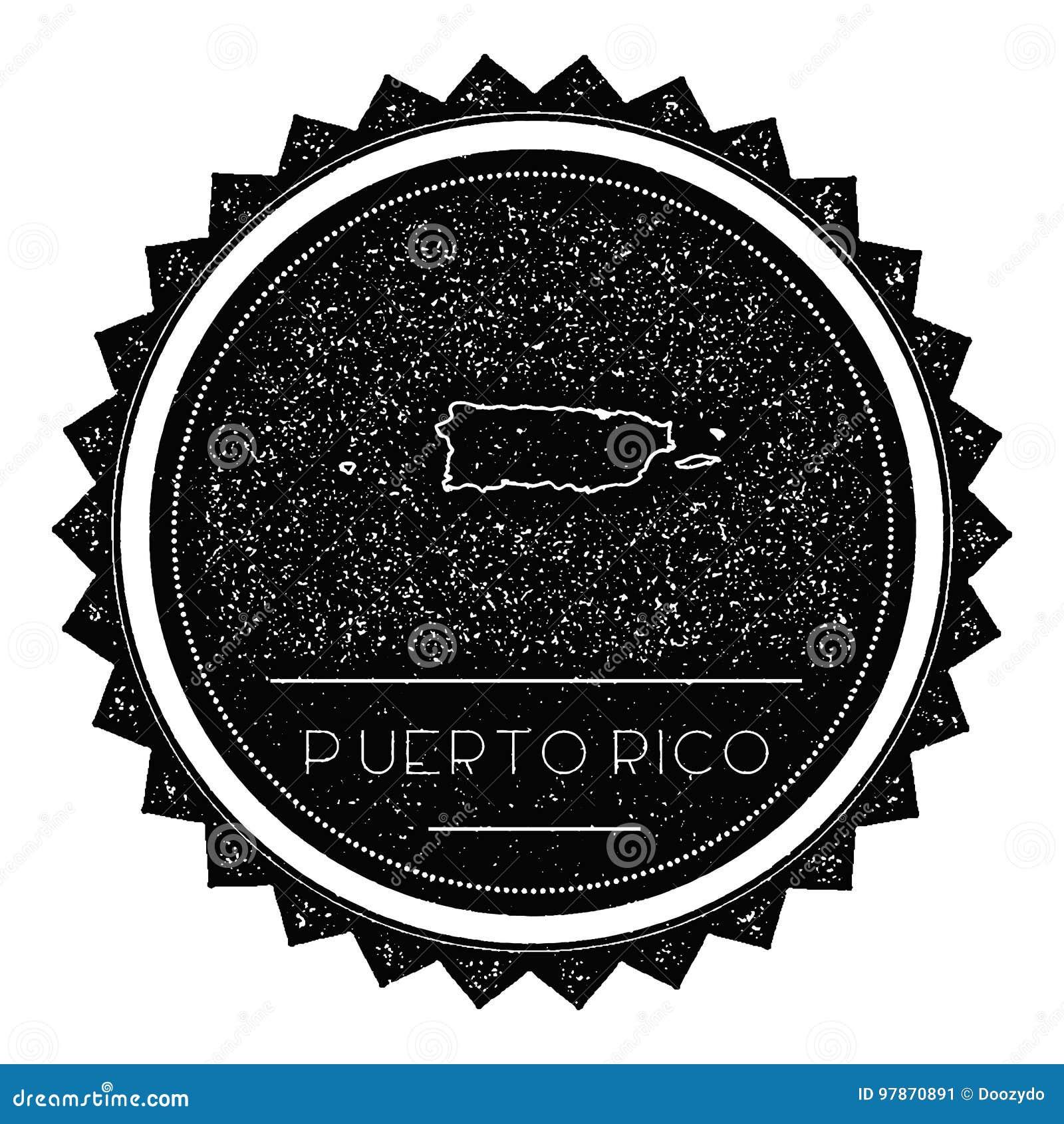 Puerto Rico Map Label com o vintage retro denominado