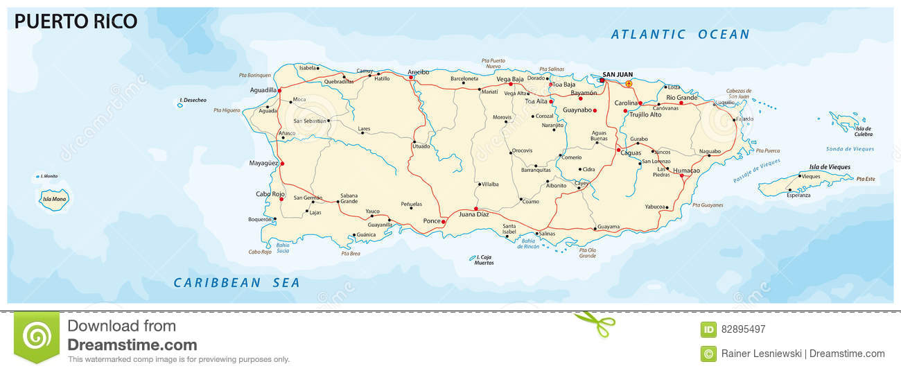 road map of puerto rico Puerto Rico Map Stock Vector Illustration Of Graphic 82895497 road map of puerto rico