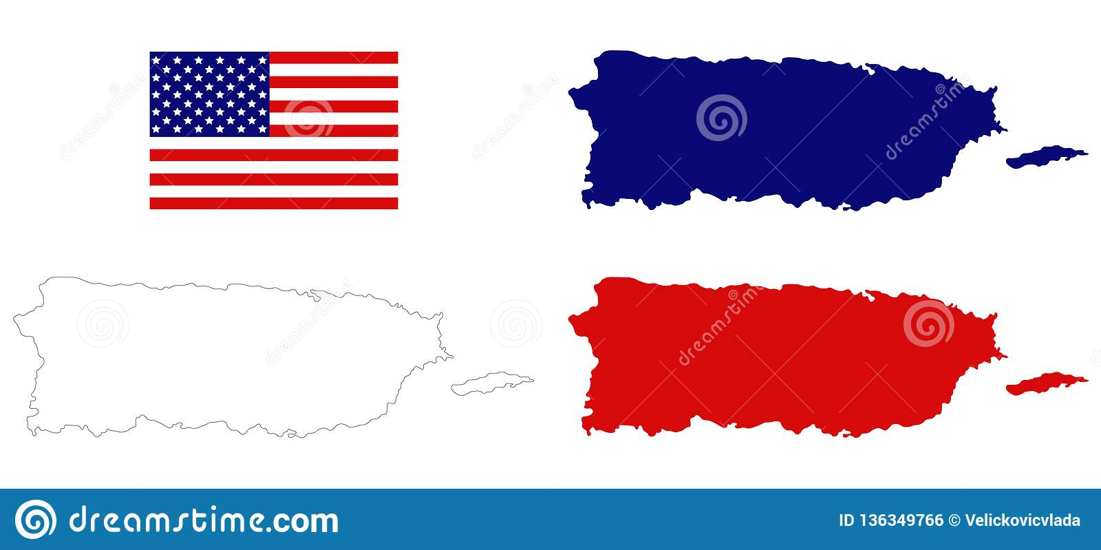 Puerto Rico Maps With USA Flag - Commonwealth Of Puerto Rico ...