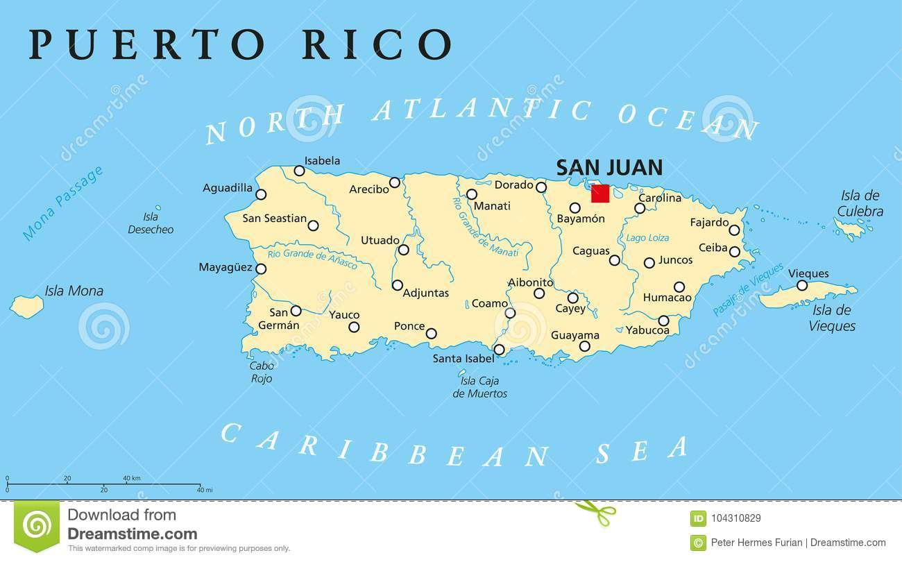 United States Map With Puerto Rico.Puerto Rico Political Map Stock Illustration Illustration Of