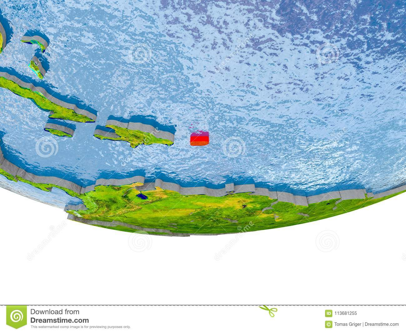 Puerto Rico In Red Earth Model Stock Illustration Illustration