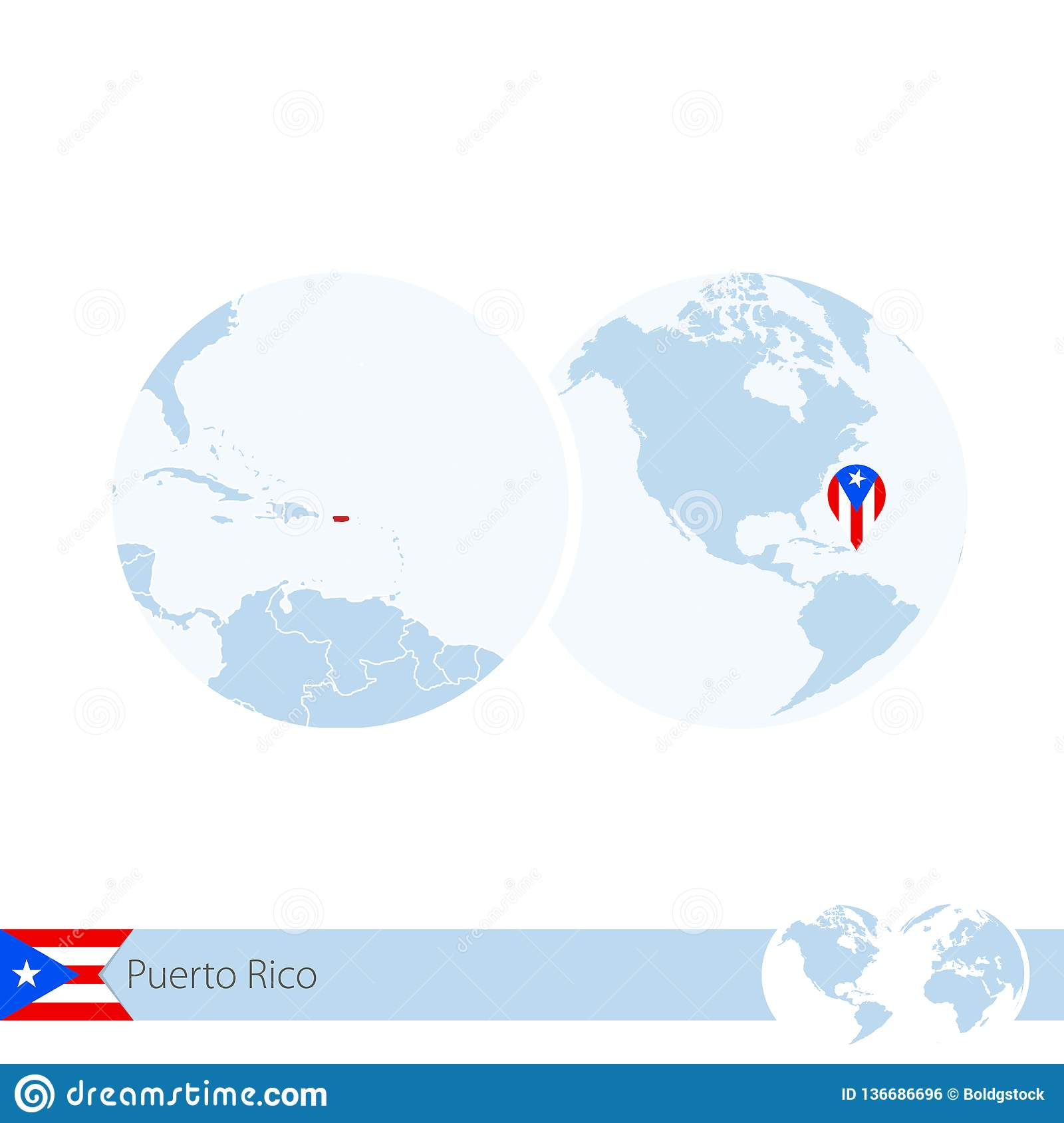 Puerto Rico On World Globe With Flag And Regional Map Of ...