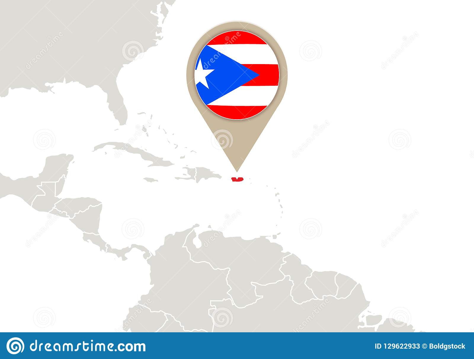 Puerto Rico On World Map Stock Vector Illustration Of Rico 129622933