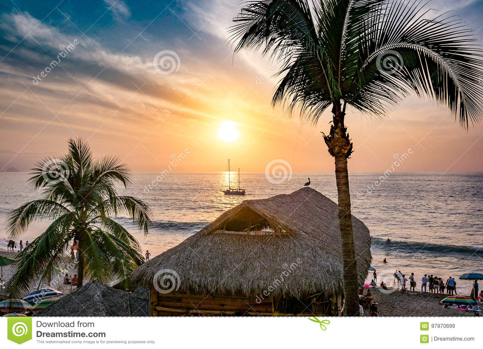 Puerto Vallarta Beach sunset ocean coconut trees boat