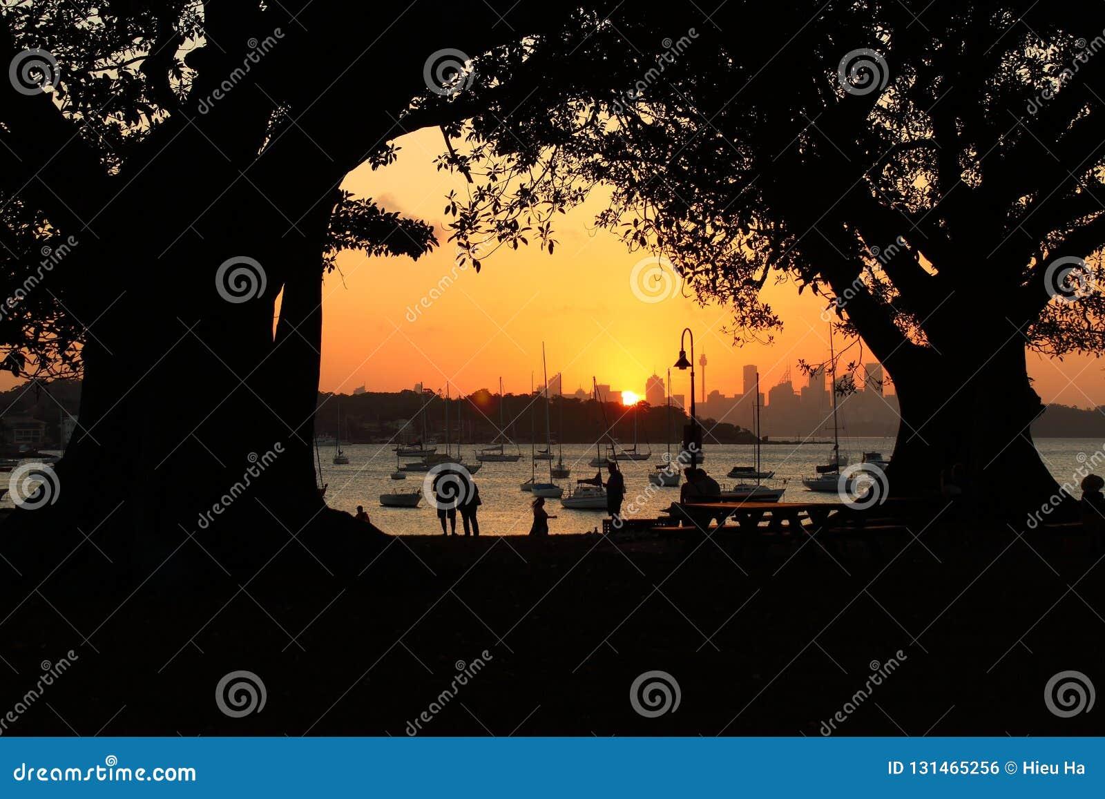 Puesta del sol anaranjada en la bahía de Watsons en Sydney, Nuevo Gales del Sur, Australia