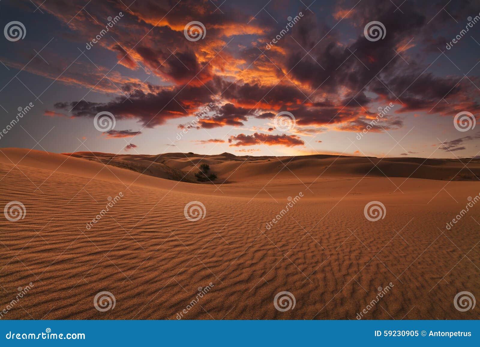 Puesta del sol ardiente majestuosa en el desierto de Gobi