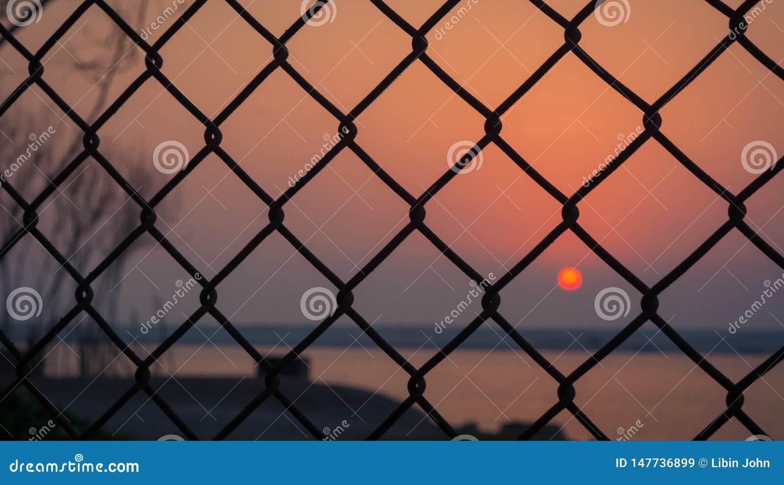 Puesta del sol capturada a través de la cerca