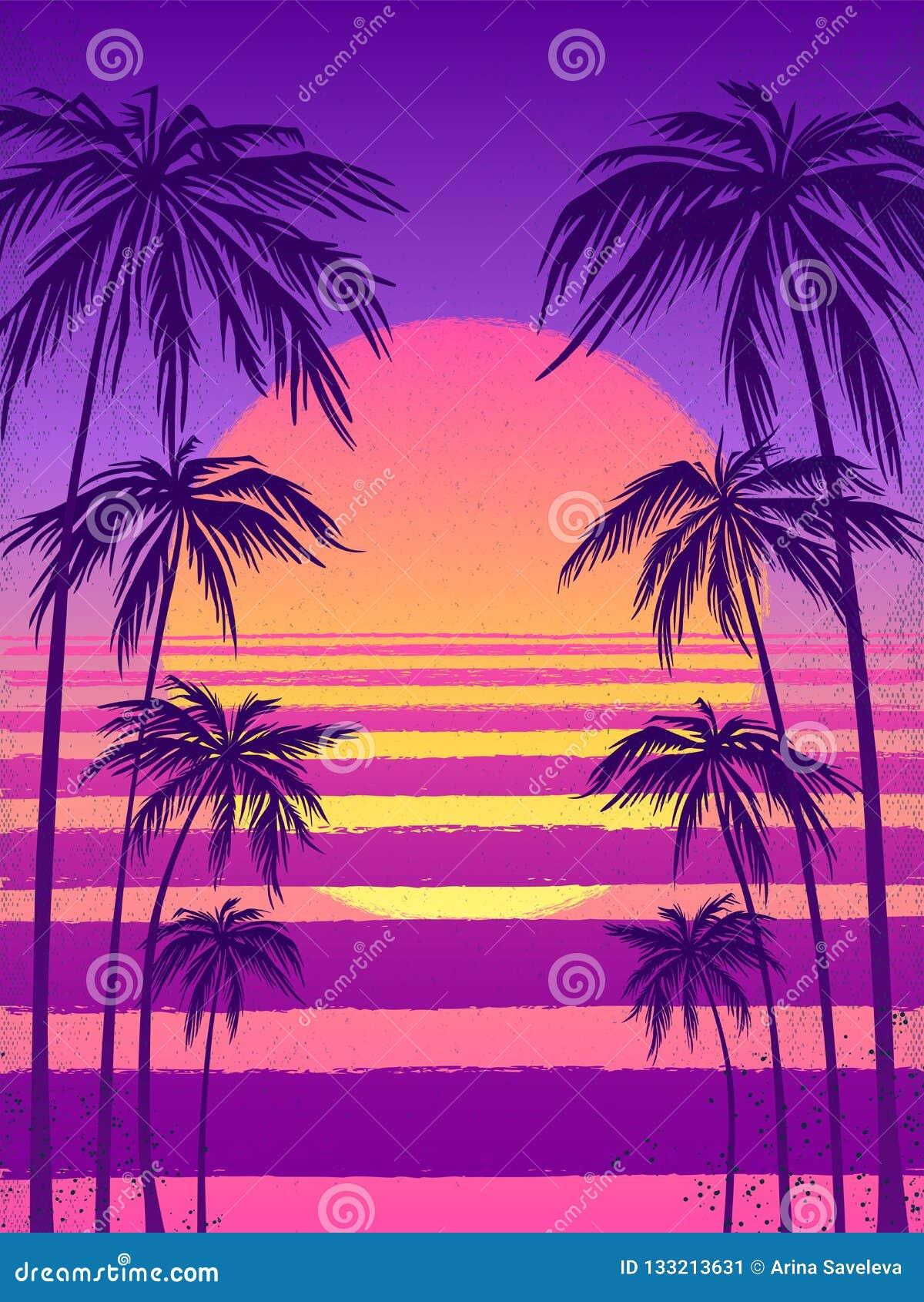 Puesta del sol con las palmeras, fondo púrpura de moda Vector el ejemplo, diseñe el elemento para las tarjetas de la enhorabuena,