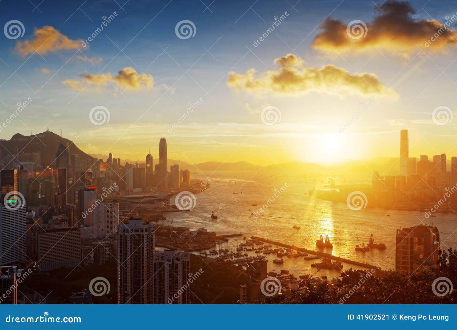 Puesta del sol de Hong-Kong