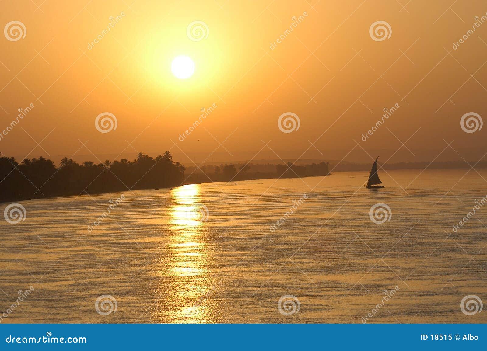 Puesta del sol de la navegación