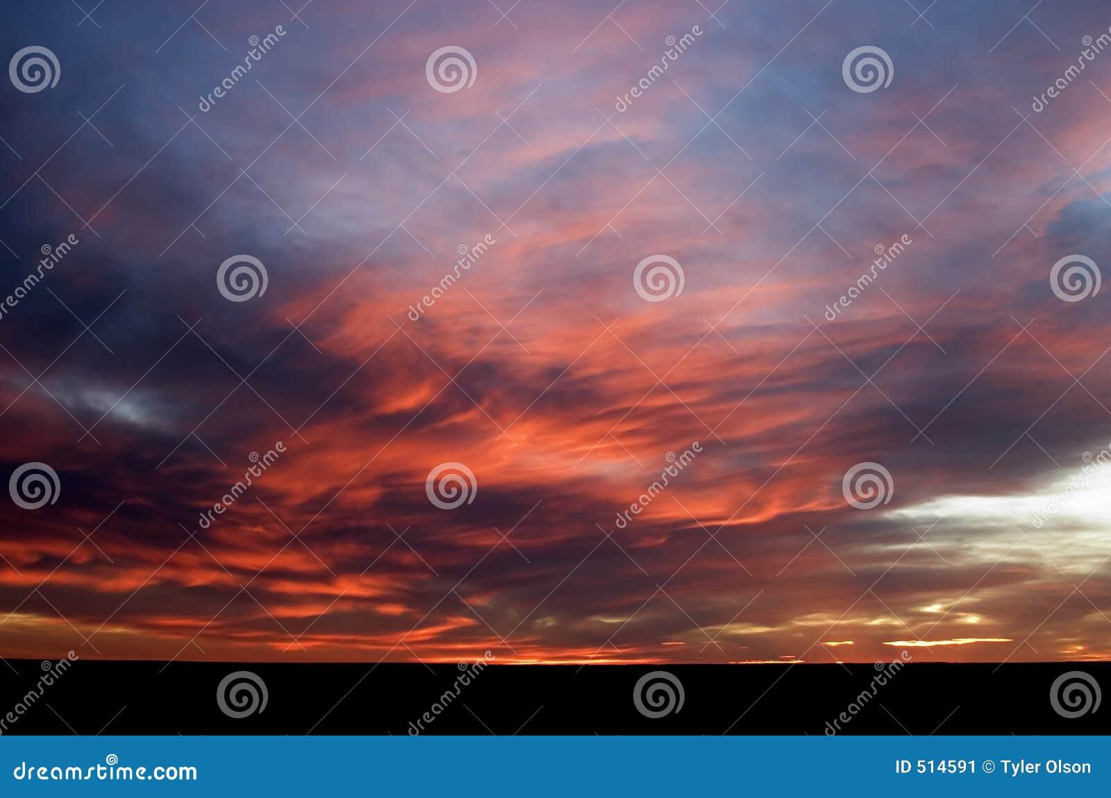 Puesta del sol de la pradera