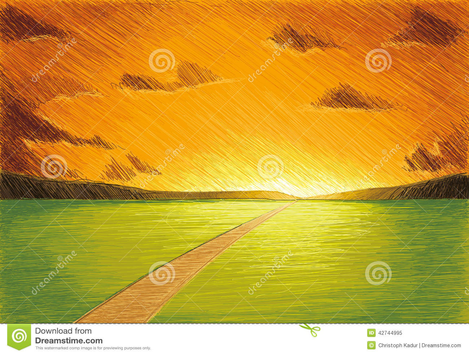 Puesta del sol de la tarde stock de ilustraci n imagen for Bancos abiertos por la tarde