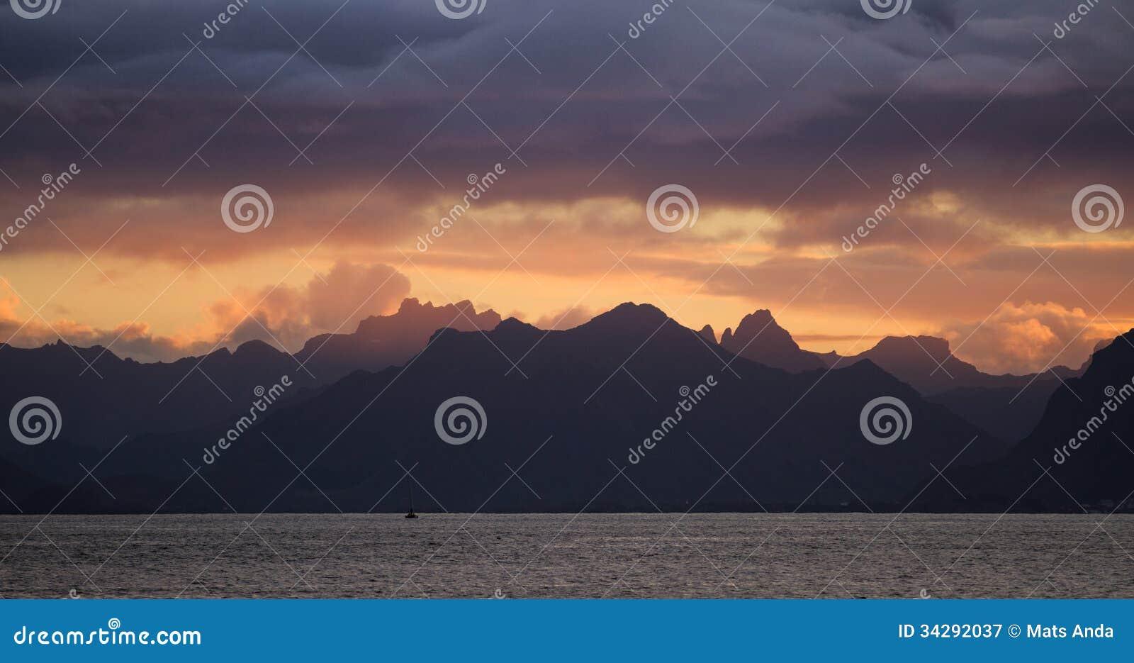 Puesta del sol de Lofoten