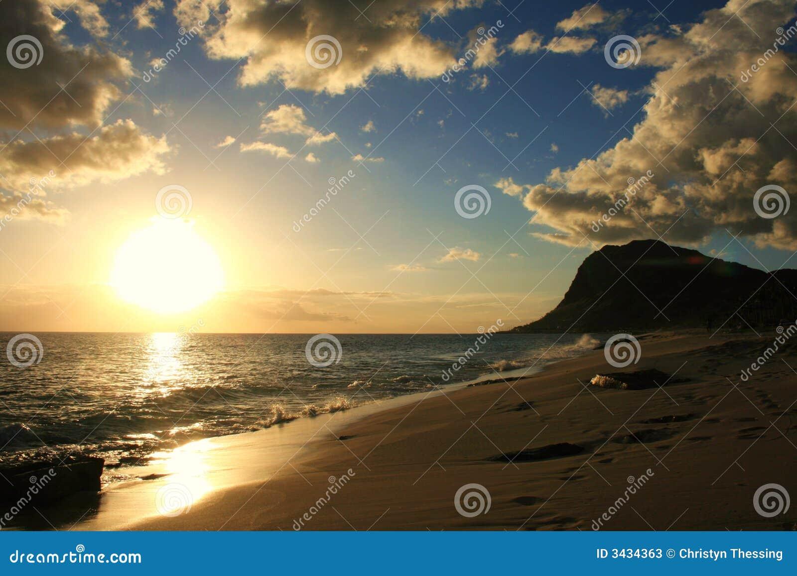 Puesta del sol de Oahu