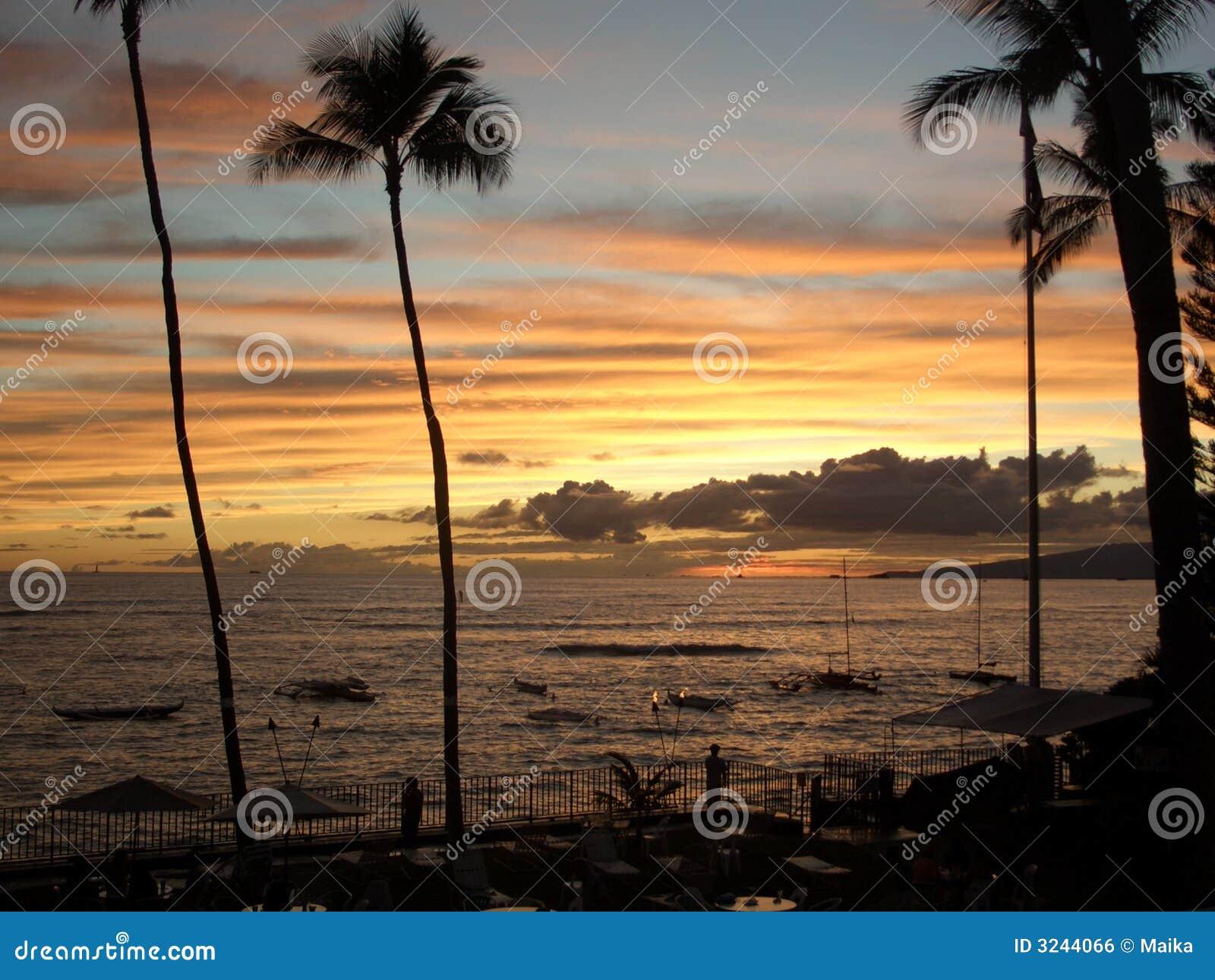Puesta del sol de Waikiki