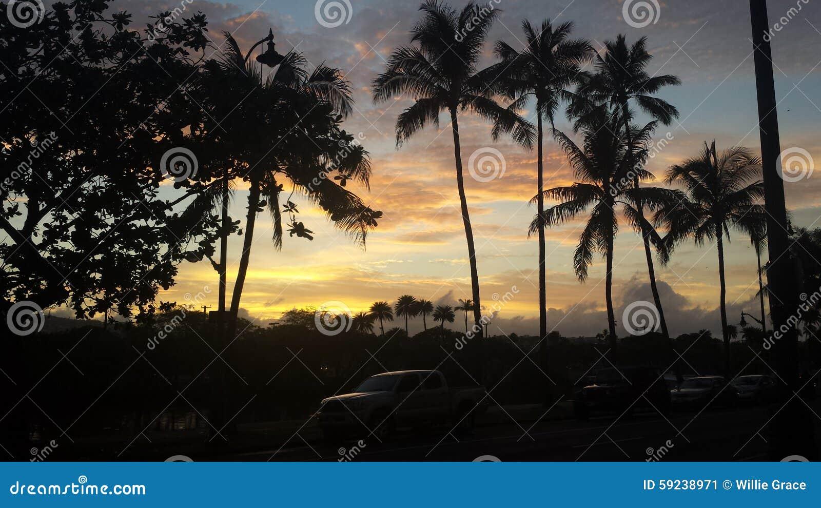 Download Puesta del sol de Waikiki imagen de archivo. Imagen de playa - 59238971