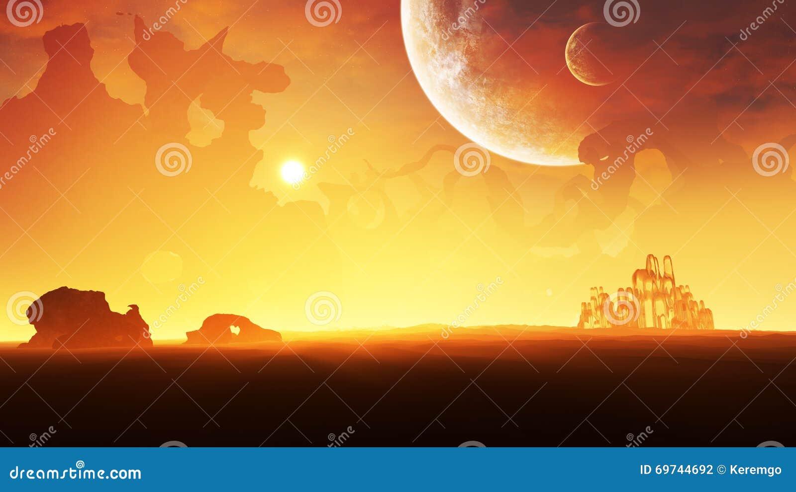 Puesta del sol del ambiente del planeta del hielo